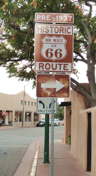 Historic Route 66 sign in Santa Fe NM