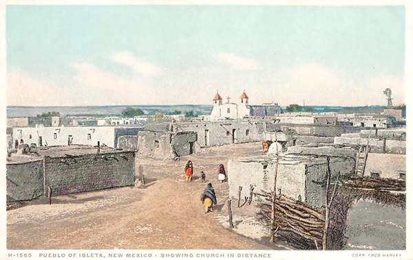 Pueblo Of Isleta, New Mexico, Native American Fred Harvey Postcard ca 1920s, Route 66