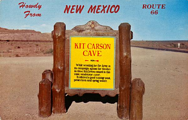 Postcard showing the now gone Kit Carson Cave historic marker on Route 66, Rehoboth Route 66, New Mexico