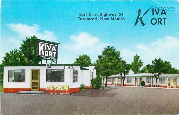 vintage postcard of Kiva Kort Motel, Tucumcari NM