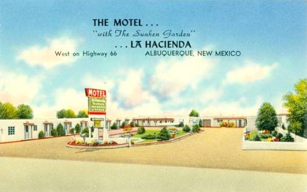 Vintage 1950s postcard of the La Hacienda Camp on Route 66 in Albuquerque NM
