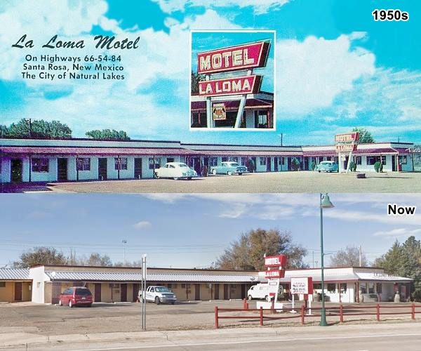 Then and now view of La Loma motel, a 1950s postcard and today