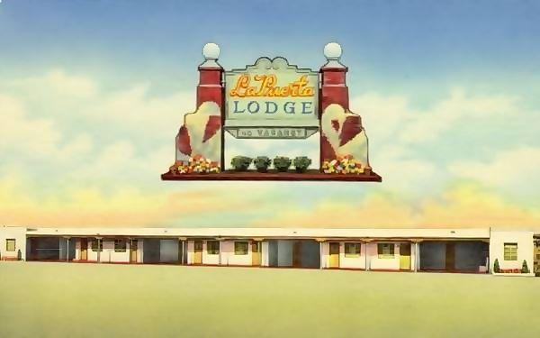 1950s postcard of the La Puerta Motor Lodge Route 66 in Albuquerque NM