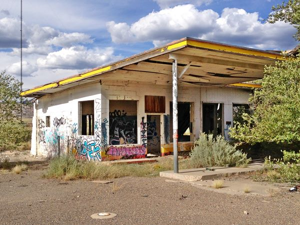 Abandoned Whiting Brothers Service Station near San Fidel, Route 66, New Mexico