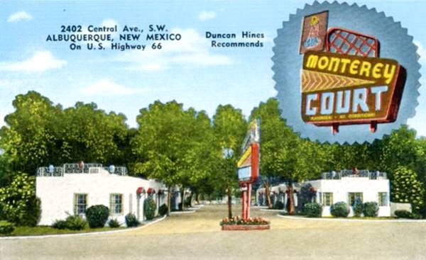Vintage 1950s postcard of the Monterey Motel on Route 66 in Albuquerque NM