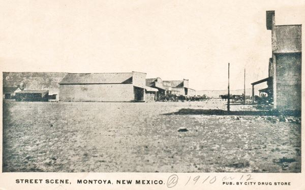 Montoya main street in a black and white 1910 vintage postcard