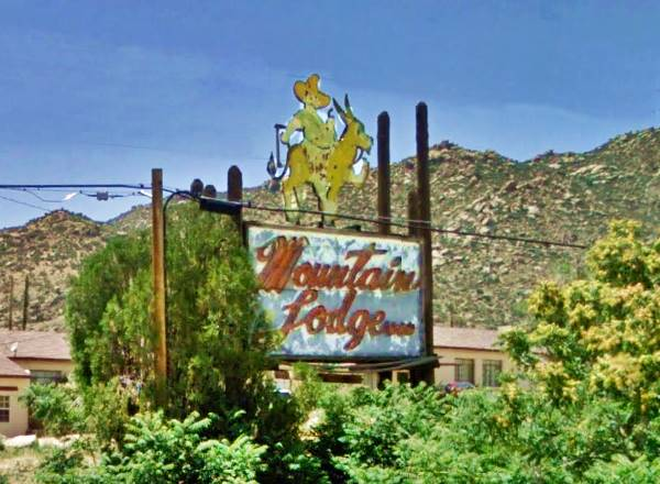 Old Mountain Lodge Hotel sign, Carnuel, New Mexico