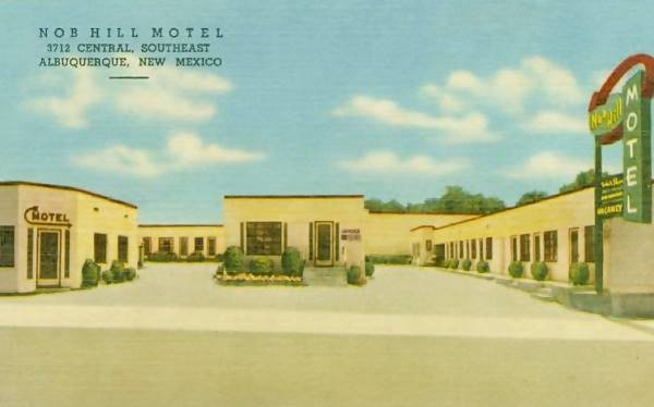 Vintage 1950s postcard of the Nob Hill Motel Albuquerque
