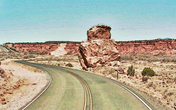 Owl Rock next to Route 66 in Mesita, New Mexico