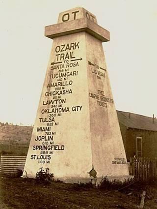 Ozark Trail Association obelisk at Romeroville NM ca. 1920