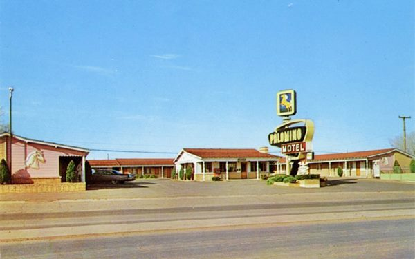 vintage postcard of Palomino Motel, Tucumcari NM