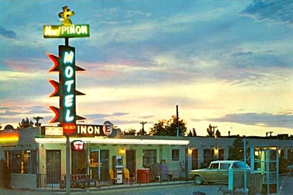 Vintage 1960s postcard of the Piñon Motel on Route 66 in Albuquerque NM