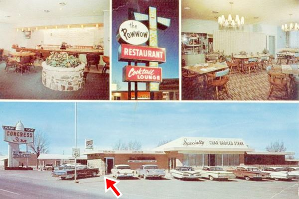 vintage postcard of Pow Wow Restaurant and Lounge and the Congress Inn, Tucumcari NM