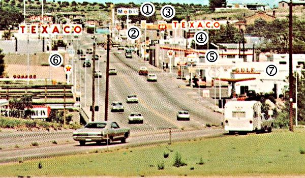 View of US66 in the 1960s in Santa Rosa, NM showing the gas stations numbered which we explain in the text