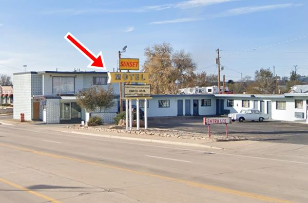 current appearance of former Whiting Bros motel and neon sign