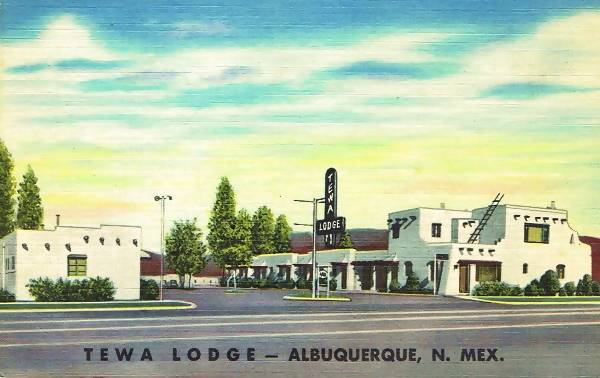 Vintage 1940s postcard of the Tewa Lodge on Route 66 in Albuquerque NM