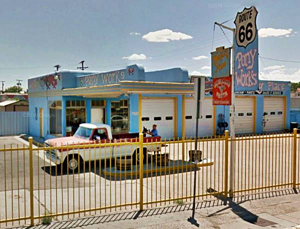 View of the 1948 Texaco gas station in Albuqerque NM