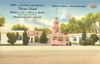 Tower Court motel in a vintage postcard, Albuquerque, NM