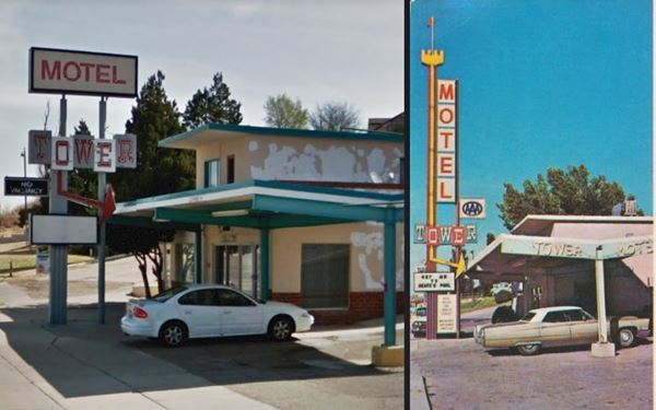 Entrance and neon Sign Tower motel in 1960s and now, Santa Rosa, NM
