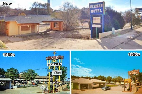 Western Motel as time passes, now, and in two postcards from the 1950s and 60s