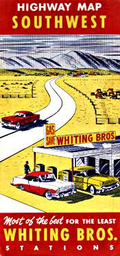1958 Whiting Brothers Road Map