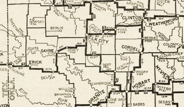 1924 roadmap of western Oklahoma