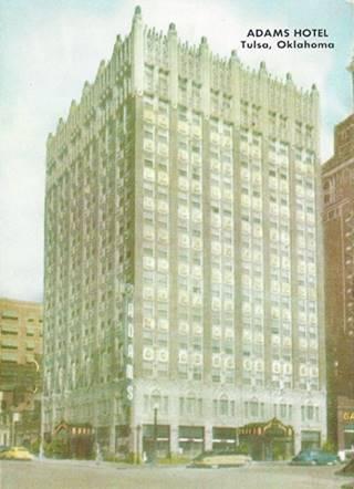Vintage postcard of the Adams Hotel Tulsa Oklahoma Route 66