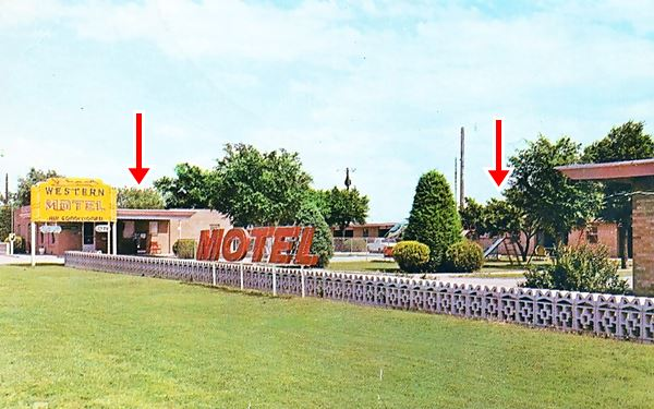 view of the Western motel and its neon sign 1950s postcard