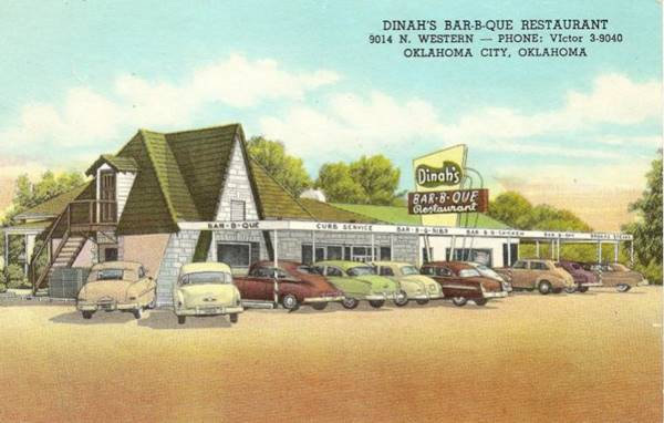 Dinah's Bar-B-Que Restaurant postcard in Oklahoma City Route 66