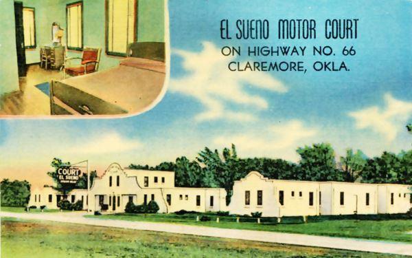 El Sueno vintage postcard Claremore Oklahoma