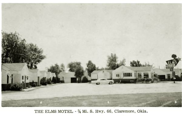 Old postcard of the Elm Motel, Claremore Oklahoma