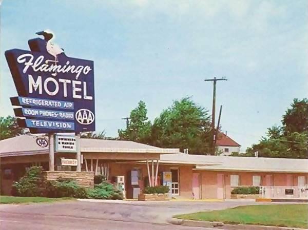 Flamingo Motel in a postcard Tulsa OK Route 66