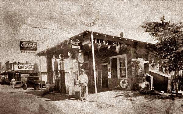 1930 black and white picture of the gas station