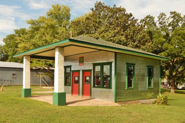 restored Texaco gas station, gabled canopy and building