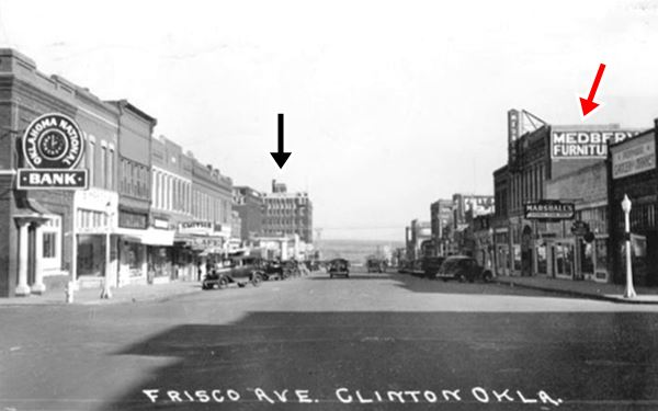 Frisco Ave buildings and cars in a 1930s postcard