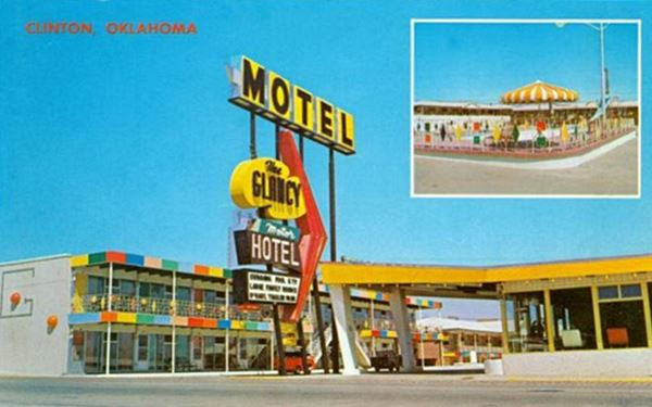 Glancy Motel postcard, Clinton Oklahoma