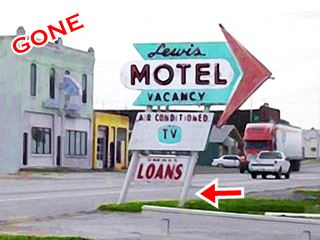 Old sign of the Lewis Motel