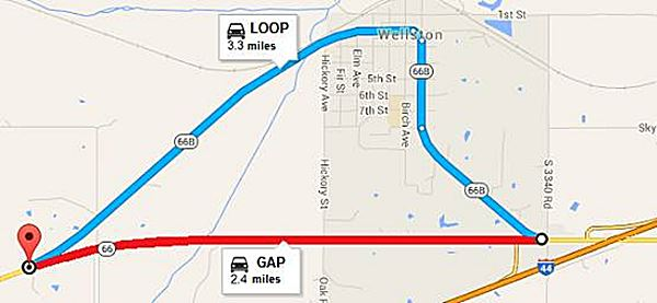 Route 66 Loop and Gap in Wellston Oklahoma