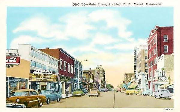 Main Street Miami, Looking North, a 1959 postcard