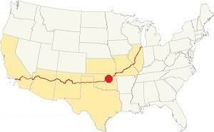 map showing where Tulsa is located on Route 66