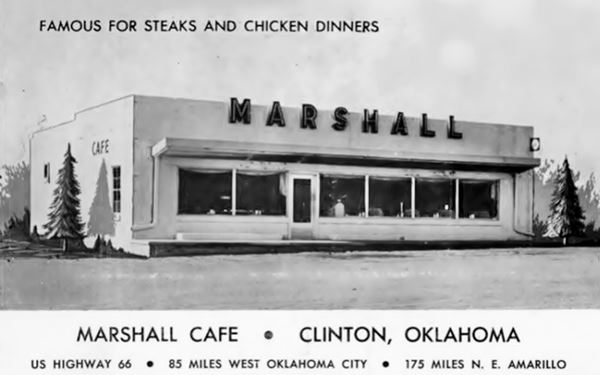 vintage black and white postcard of Marshall Cafe