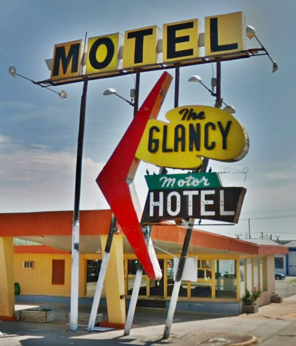 classic colorful googie style 1950s Glancy Motel Neon sign