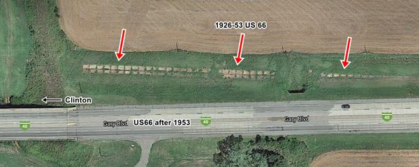 satellite view old and new Route 66 roadbeds