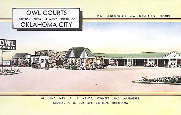 Owl Courts Motel vintage postcard in Oklahoma City Route 66