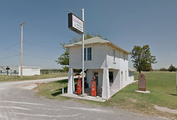 View of Provine Service Station (Lucille's Place), Route 66 in Hydro Oklahoma