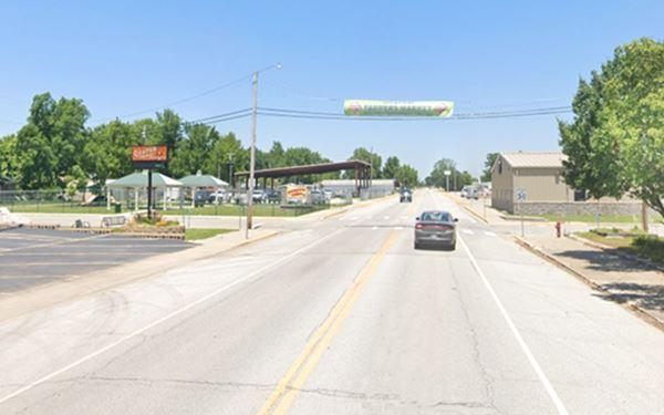 Main Street, looking north, Quapaw, buildings and cars c.2019