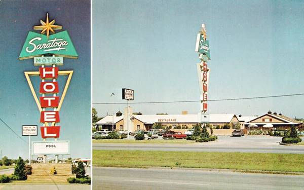 Saratoga Motor Hotel vintage Postcard Tulsa OK Route 66