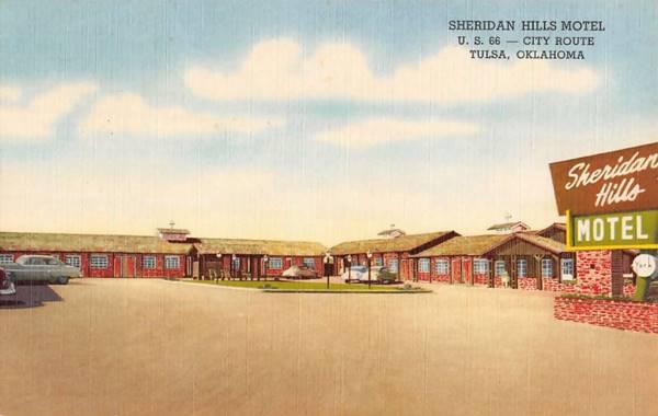 Sheridan Hills Motel 1950s postcard Tulsa OK Route 66
