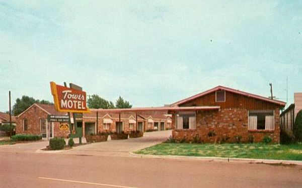 Tower Motel 1950s postcard in Oklahoma City Route 66