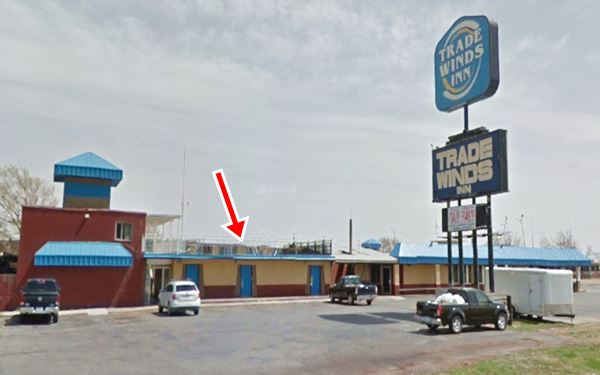 Trade Winds motel and neon sign nowadays